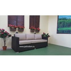 Плетеный диван «Acoustic» brown 3-х местный