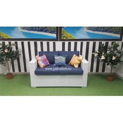 Плетеный диван «Louisiana» white & blue 2-х местный
