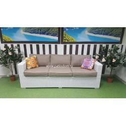 Плетеный диван «Louisiana» white&beige 3-х местный