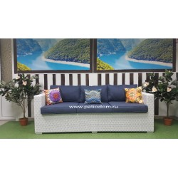 Плетеный диван «Louisiana» white&blue 3-х местный