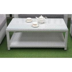 Плетеный кофейный стол «Louisiana» white с полочкой 120х60 см