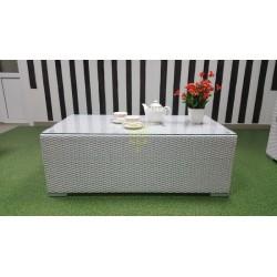 Плетеный кофейный стол «Louisiana» white 120х60 см