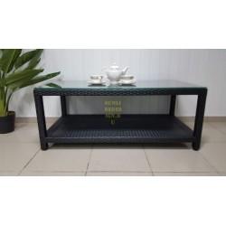 """Плетеный кофейный стол """"Nina"""" black с полочкой 120х60 см"""