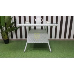 Плетеный стол «Samurai» white 90х90 см