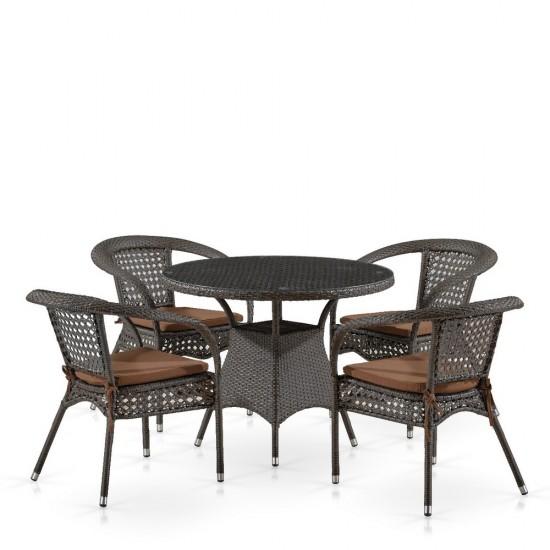 "Плетеная мебель ""Лион-1A T220CT/Y32-W53 Brown 4Pcs"""