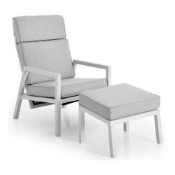 """Кресло с пуфом из алюминия """"Belfort"""" white"""