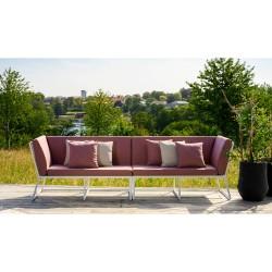 """Садовая мебель из алюминия """"Vence"""", диван модульный, белый каркас/красный текстиль"""
