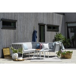 """Садовая мебель из алюминия """"Vence & Vannes"""", диван угловой модульный, белый каркас/серый текстиль"""
