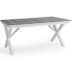 """Стол из алюминия """"Hillmond"""", цвет белый/натуральный,  раздвижной 166/226х100"""