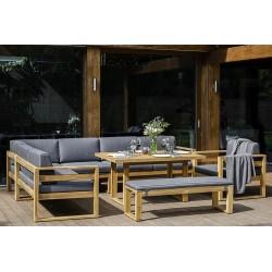 """Мебель из акации """"Booka"""", лаунж-зона c обеденным столом"""