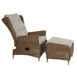 """Плетеная мебель """"Vallmo"""" с регулируемым креслом и пуфом"""