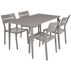 """Садовая мебель из алюминия """"Delia & Nimes"""" со стульями без подлокотников на 4 персоны, цвет бежевый"""