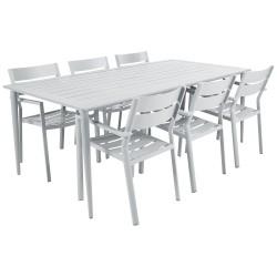 """Садовая мебель из алюминия """"Delia & Nimes"""" со стульями на 6 персон, цвет белый"""