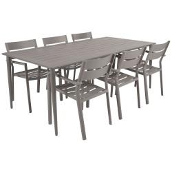 """Садовая мебель из алюминия """"Delia & Nimes"""" со стульями на 6 персон, цвет бежевый"""