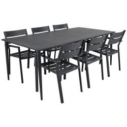 """Садовая мебель из алюминия """"Delia & Nimes"""" со стульями на 6 персон, цвет антрацит"""