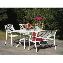 """Обеденная группа """"Arras"""" с со скамьей и стульями, цвет белый"""