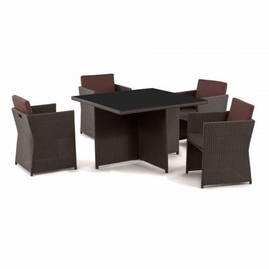 "Плетеная мебель ""T300A/Y300A-W53 Brown 4Pcs"""