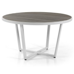 "Стол из алюминия ""Leone"" white/grey, круглый d130"