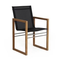"""Кресло из тика """"Vevi"""" обеденное с отделкой текстиленом"""