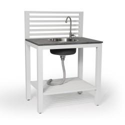 """Модуль """"Bellac"""" white с раковиной  для летней кухни из алюминия"""