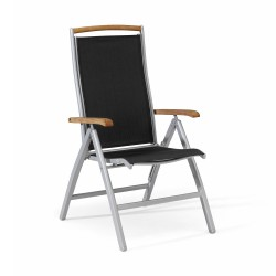 """Кресло раскладное """"Nydala"""" grey/black  из алюминия, цвет серый/черный"""
