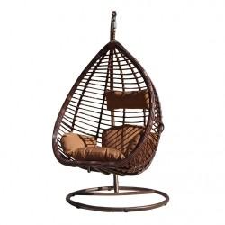 """Подвесное плетеное кресло """"KM-0016"""" big, коричневые подушки"""