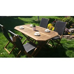 Плетеная мебель деревянная «Ever ton brown», обеденная группа на 4 персоны