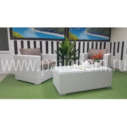 "Плетеная мебель ""Louisiana"" cafe set white&beige"