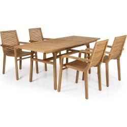 """Мебель из тика """"Volos"""", обеденная группа c раздвижным столом"""