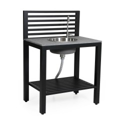 """Модуль """"Bellac"""" black с раковиной  для летней кухни из алюминия"""